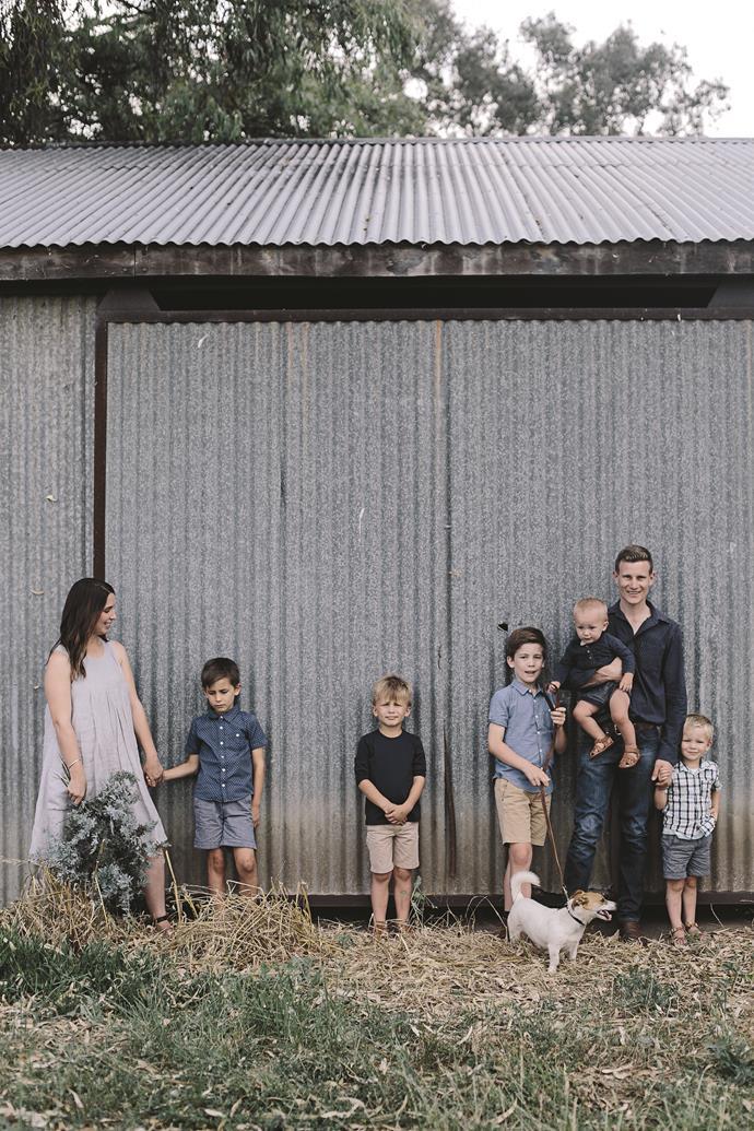 The Aldridge family on a walk near their home.
