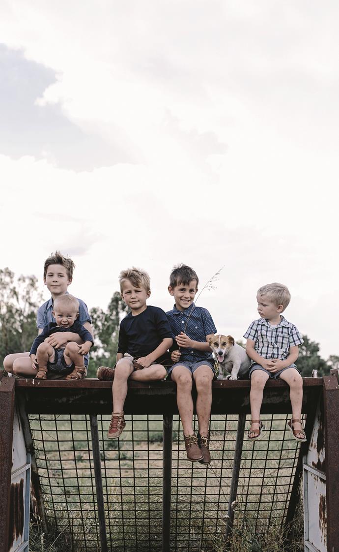 The five Aldridge boys (from left): Caleb, Albert, Reuben, Amos and Hugh with Hazel, the family dog. (Photo taken in 2017).