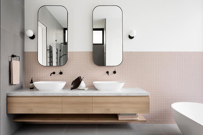 The addition of blush pink tiles adds a sense of fun to the bathroom and makes a style statement without being dramatic.