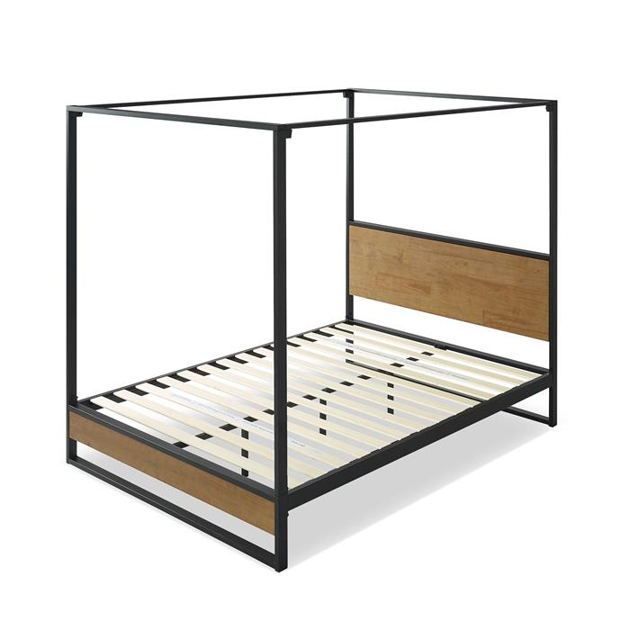 "Studio Home Houston Timber and Metal Canopy four poster bed, from $469, [Temple & Webster](https://www.templeandwebster.com.au/Houston-Timber-and-Metal-Canopy-four-poster-bed-ZINU1088.html|target=""_blank""