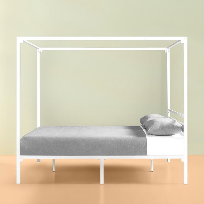 "Zinus Patricia White Metal Single Four-Poster bed frame, $219, [Bunnings](https://www.bunnings.com.au/zinus-patricia-white-metal-single-four-poster-bed-frame_p0152271|target=""_blank""