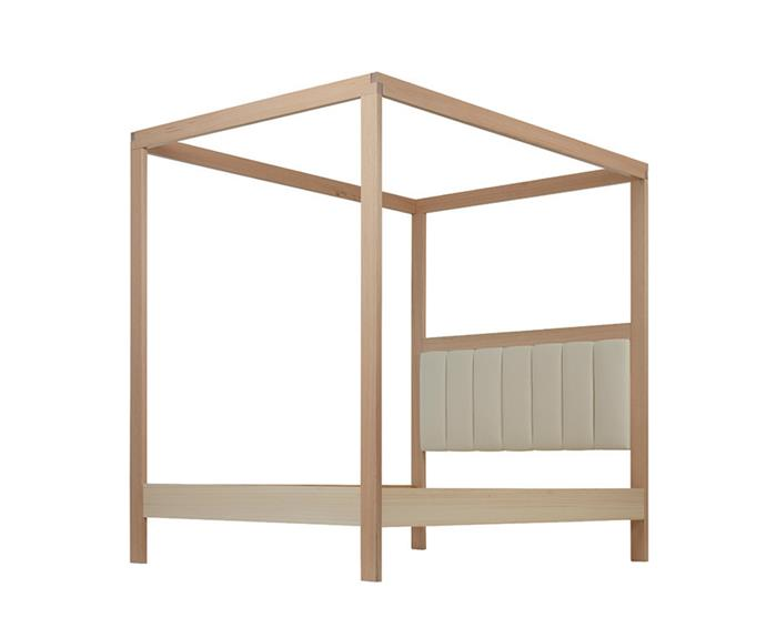 "Lincoln 4 Poster Deluxe bed frame with upholstered half height bedhead in Snow, from $3599, [Forty Winks](https://www.fortywinks.com.au/products/FURNITURE/LINCOLN-DB-4-POSTER-UPHOLSTERED--Snow--Keylargo-Ivory-|target=""_blank""