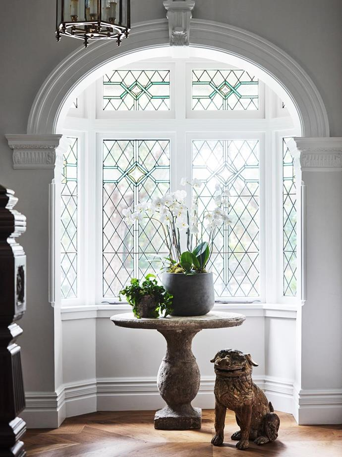 "A white orchid is beautiful framed in the stain glassed bay window of a [grand federation home in Sydney](https://www.homestolove.com.au/sydney-north-shore-federation-home-6204|target=""_blank""). Photo: Anson Smart 