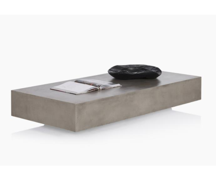 "'Monaco' rectangle concrete coffee table, $1100, [Coco Republic](https://www.cocorepublic.com.au/monaco-rectangle-concrete-coffee-table-10594|target=""_blank""