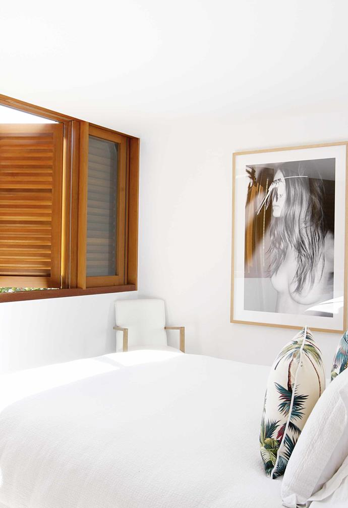 "**Master bedroom** The Bali inspiration can be seen with a bedhead from [The Family Love Tree](https://www.thefamilylovetree.com.au/|target=""_blank""