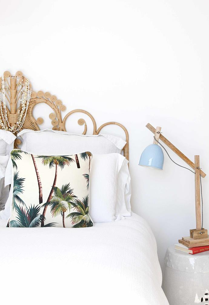 **Master bedroom** Tropical-inspired styling adds a luxe holiday touch.