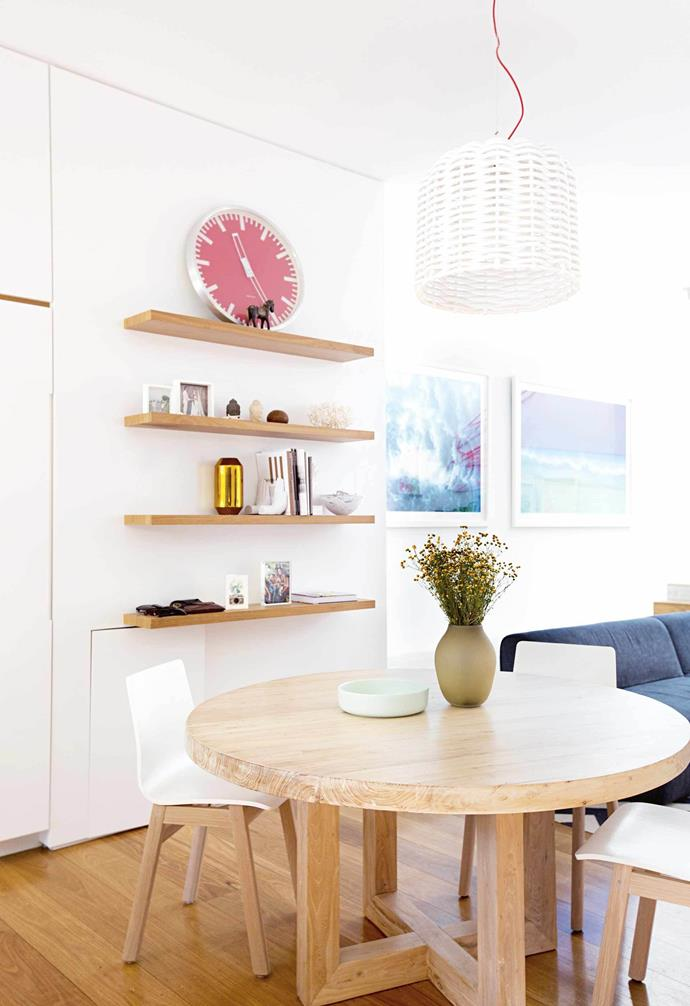 "**Dining area** This eat-in nook sits between the kitchen and living area, made up of chairs from [Jardan](https://www.jardan.com.au/|target=""_blank""
