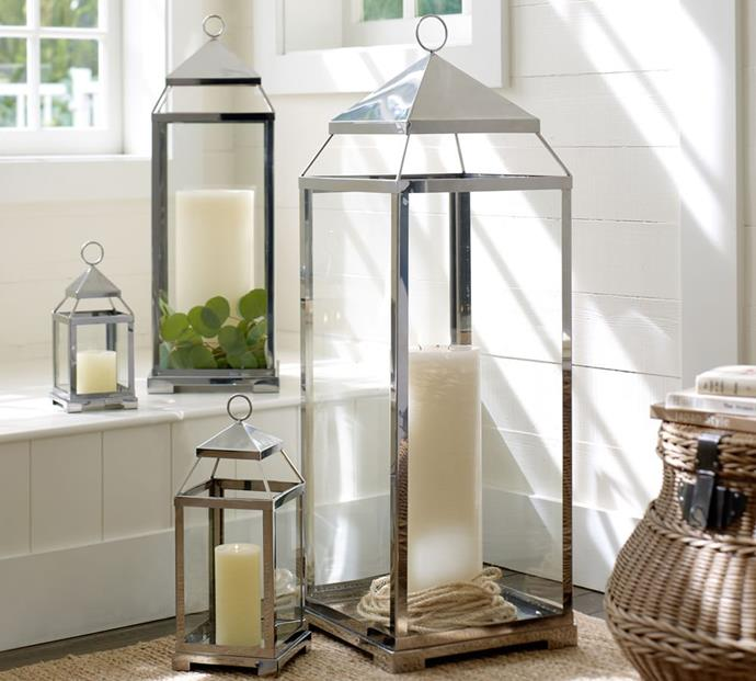 """Malta Lantern in silver, from $54 to $199, [Pottery Barn](https://www.potterybarn.com.au/malta-lantern-silver-finish