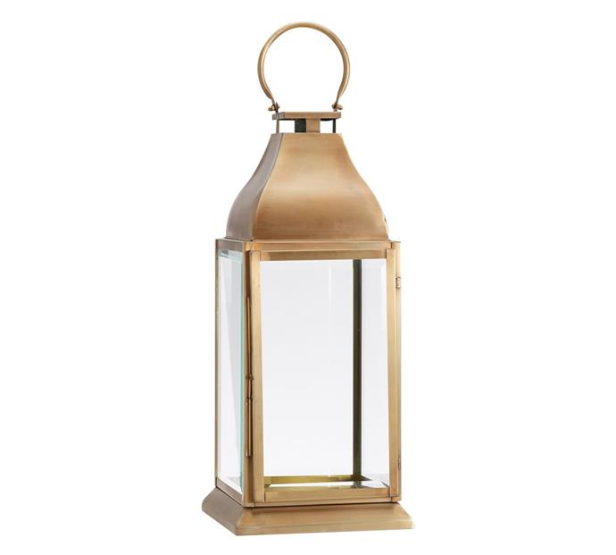 """Chester Brushed Lantern, from $179 to $289, [Pottery Barn](https://www.potterybarn.com.au/chester-brushed-lantern