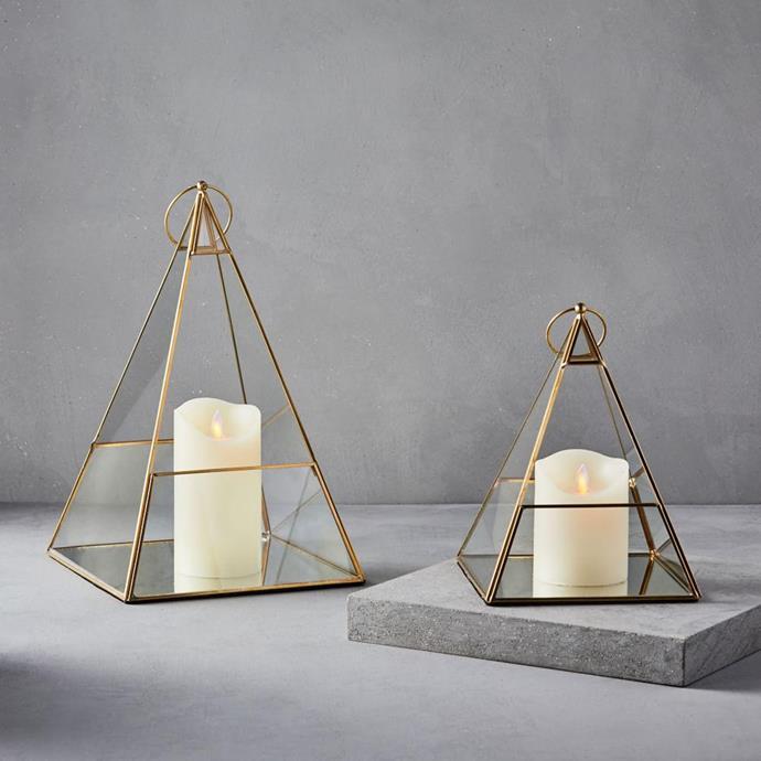 "Terrace Pyramid Lanterns - Antique Brass, $59, [West Elm](https://www.westelm.com.au/terrace-lanterns-d5183|target=""_blank""|rel=""nofollow"")"