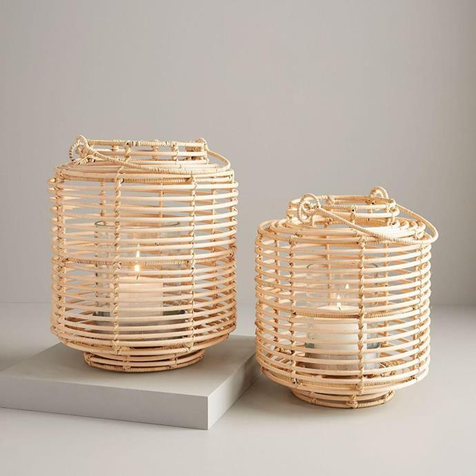 "Natural Rattan Lanterns, from $79, [West Elm](https://www.westelm.com.au/natural-rattan-lanterns-d6043|target=""_blank""|rel=""nofollow"")"