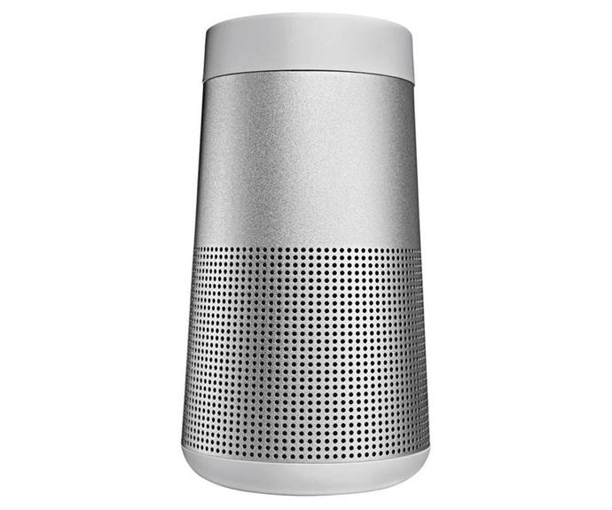 "**[Speakers to pump up the volume](https://www.homestolove.com.au/best-portable-speakers-18301|target=""_blank"")** and set the mood.<br> <br> Bose SoundLink Revolve Bluetooth Speaker, $299, [Myer](https://www.myer.com.au/p/bose-soundlink-revolve-bluetooth-speaker-silver?utm_source=Affiliate&utm_medium=Partnerize&utm_campaign=skimlinks_phg&utm_content=Performance|target=""_blank""|rel=""nofollow"")."