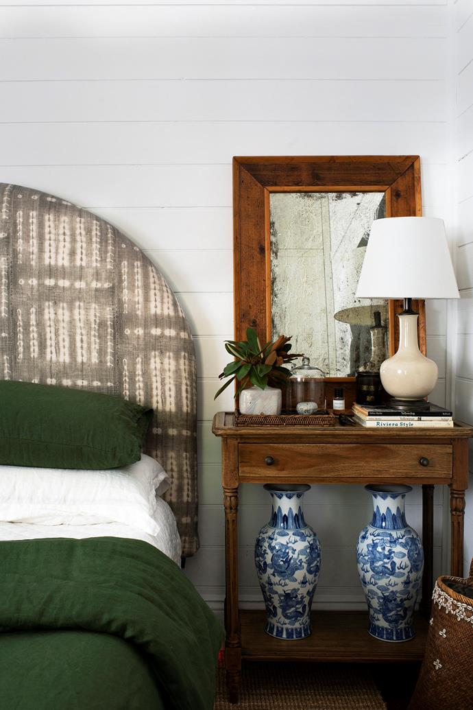 "Dan's bedhead is upholstered in Shibori fabric, the green linen is from [Bed Threads](https://bedthreads.com.au/products/olive-flax-linen-bedding-set?variant=11267485073455|target=""_blank""