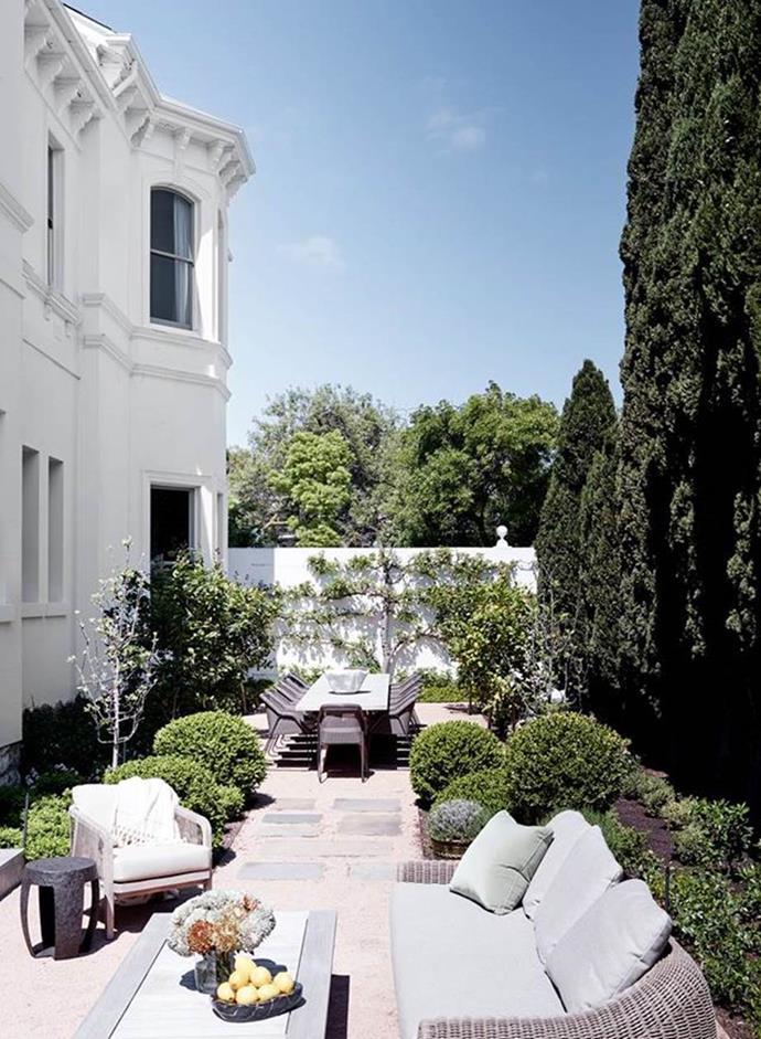 "Sculptural hedges and graved paths with only minimal pavers in between the two entertaining areas created a perfectly manicured courtyard garden in this restored [Italianate mansion in Toorak](https://www.homestolove.com.au/restored-italianate-mansion-toorak-21162|target=""_blank"")."