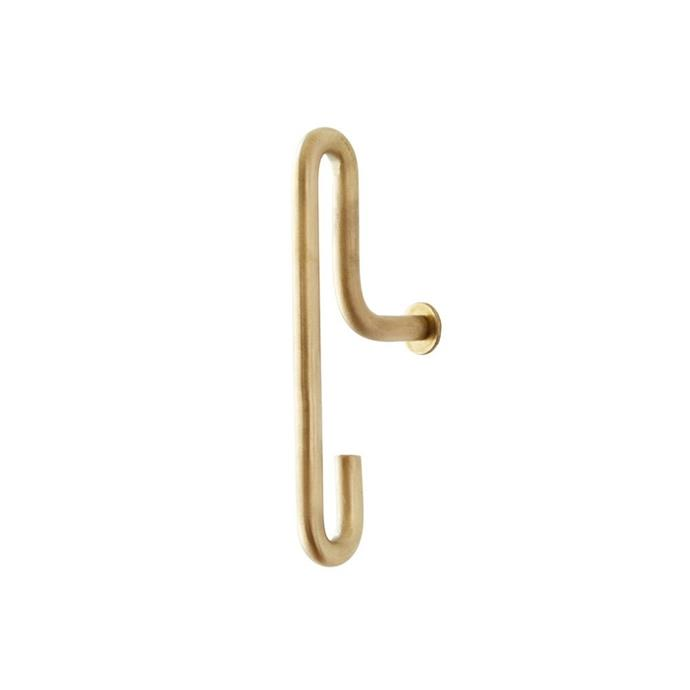 "Moebe wall hook, $31.70/2 piece, [Finnish Design Shop](https://www.finnishdesignshop.com/small-storage-coat-racks-hangers-wall-hooks-wall-hook-pcs-small-brass-p-21522.html|target=""_blank""