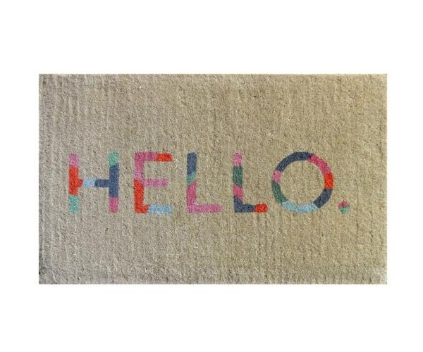 "Colour Hello doormat, $74.95, [French Knot](https://www.frenchknot.com.au/products.php?c=0&p=6532&gclid=CjwKCAjwzIH7BRAbEiwAoDxxTmDArRM7zMKgf6zt4fbqaq0XzjrTtZrM_EKBpoC54hhe0IgYV9cdjRoChZYQAvD_BwE target=""_blank"" rel=""nofollow"")"