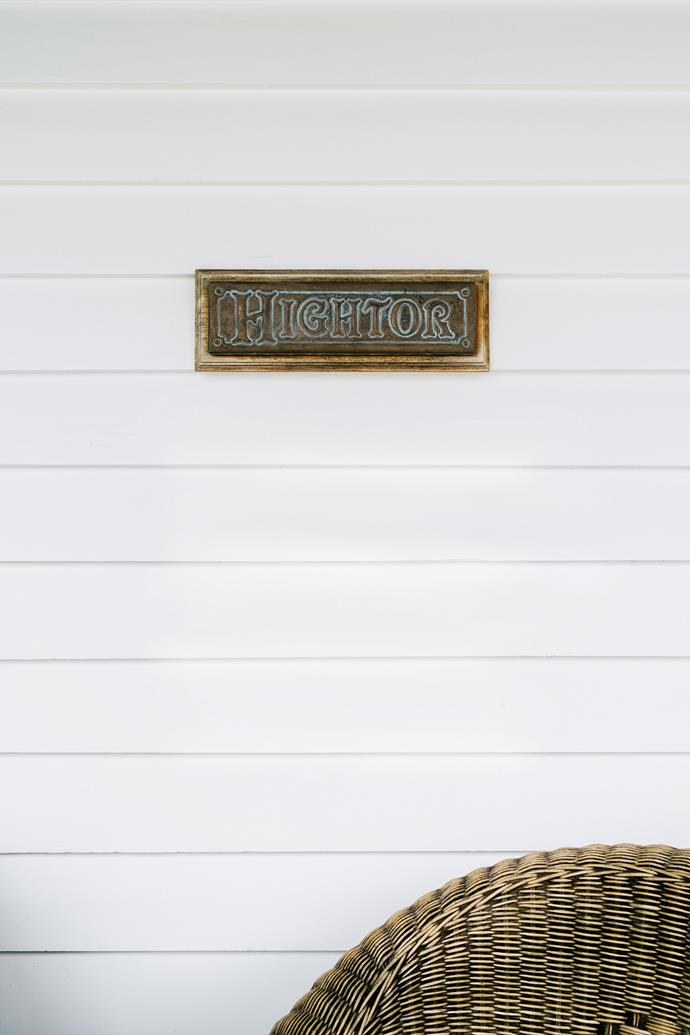 "The copper name plaque at the front door. Hightor means ""high craggy hill""."