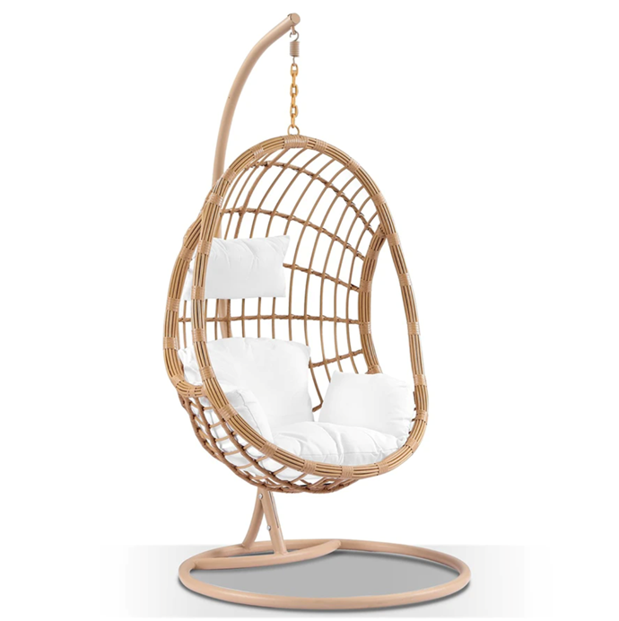 "Harper Native Rattan Hanging Egg Chair, $799, [Hanging Out](https://hangingout.com.au/collections/single-seaters/products/harper-hanging-egg-chair|target=""_blank""