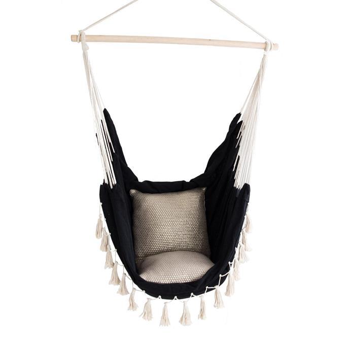 "Soho Hammock Chair - Black, $79, [Ivory & Deene](https://www.ivoryanddeene.com.au/products/hammock-chair-savoy-black|target=""_blank""|rel=""nofollow"")"