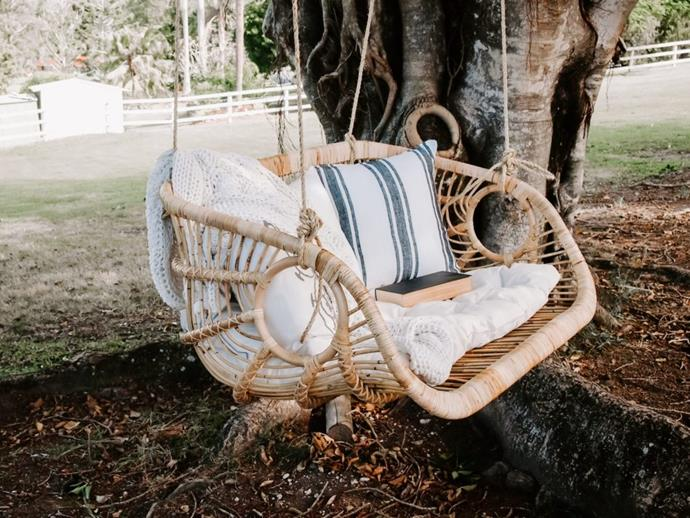 "Bari Double Hanging Chair in Natural 110cm, $565, [Haus of Rattan](https://hausofrattan.com.au/product/bari-double-hanging-chair-in-natural-110cm/|target=""_blank""