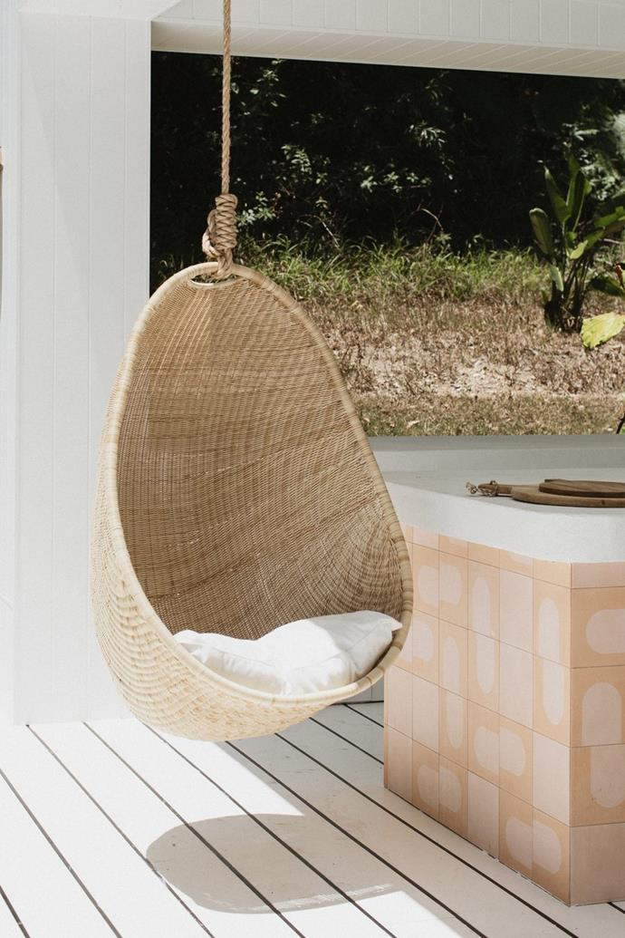"Harper Hanging Chair outdoor, $799, [Byron Bay Hanging Chairs](https://www.byronbayhangingchairs.com.au/collections/hanging-chairs/products/harper-hanging-chair-outdoor-feb|target=""_blank""