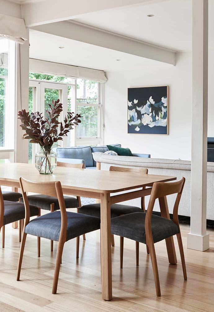 """**Dining/living area** New items include the sofa from [Grazia & Co](https://graziaandco.com.au/ target=""""_blank"""" rel=""""nofollow""""), the [Jardan](https://www.jardan.com.au/ target=""""_blank"""" rel=""""nofollow"""") 'Navy' dining table and the slightly mid-century style 172 Dining Chairs with custom upholstery from [Curious Grace](https://curiousgrace.com.au/ target=""""_blank"""" rel=""""nofollow"""")."""