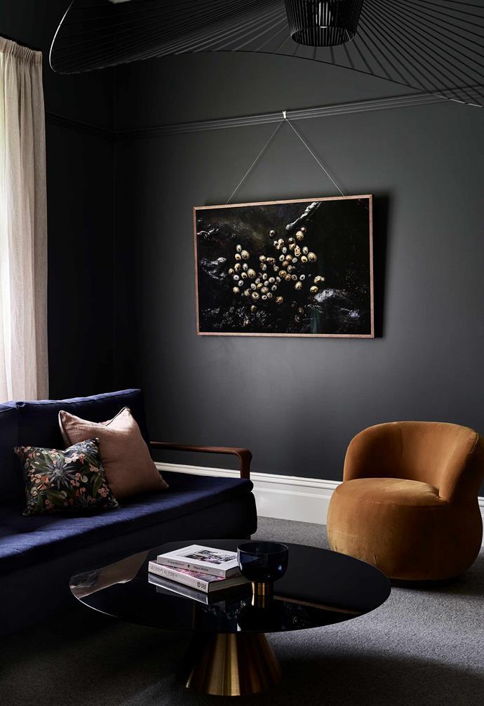 "**Sitting room** This space doubles as a guest room. Ran sofa bed, [Innovation Living](https://www.innovationliving.com/ target=""_blank"" rel=""nofollow""). Vertigo pendant light, [Petite Friture](https://petitefriture.com/fr/ target=""_blank"" rel=""nofollow""). Twinkles photographic print by [Kara Rosenlund](https://www.kararosenlund.com/ target=""_blank"" rel=""nofollow""). Walls painted [Dulux](https://www.dulux.com.au/ target=""_blank"" rel=""nofollow"") Juvenile."