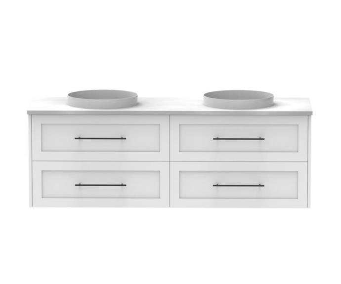 "Kado Lux 1500mm All Drawer Wall Hung Vanity Unit, $2980, [Reece](https://www.reece.com.au/product/kado-lux-1500mm-all-drawer-wall-hung-vanity-unit-4-2306174|target=""_blank""|rel=""nofollow"")"