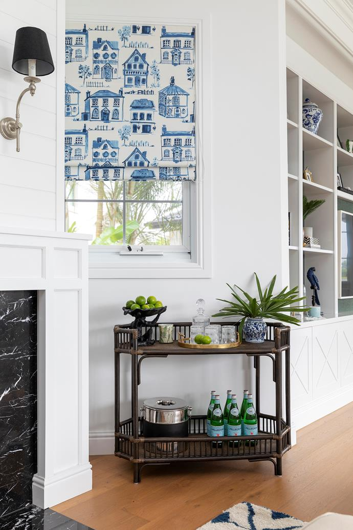 """It was love at first sight when Mieke spotted the 'Maison' fabric in Delft Blue by Studio G, from Anning Curtains and Blinds, used to create the custom Roman blinds. """"I've got Dutch family, so the little houses are a reminder of the streets over there and it ties in perfectly with blue and white ceramics around the place that were given to me by family,"""" she says."""