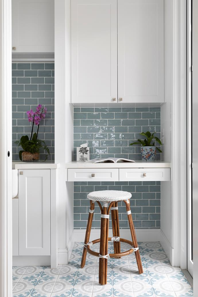 """'Frame Decor Gloucester' floor tiles and 'Aqua Gloss' subway tiles by Tile & Stone Gallery adorn this nook in the [bulter's pantry](https://www.homestolove.com.au/butlers-pantry-design-ideas-17450 target=""""_blank""""). Rather than hide the butler's pantry, the galley-style prep zone flows through to the laundry."""