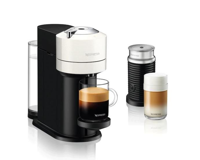 "**Nespresso Vertuo Next capsule machine, with Aeroccino milk frother, $329, [Nespresso](https://www.nespresso.com/au/en/order/machines/vertuo/vertuo-next-white-aeroccino3-milk-frother|target=""_blank""