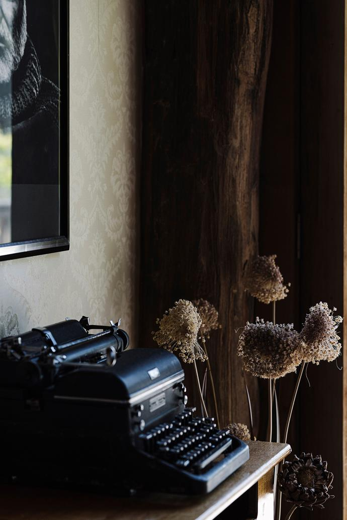 Fleur added a vintage typewriter to complement the 'writer's cabin feel'.