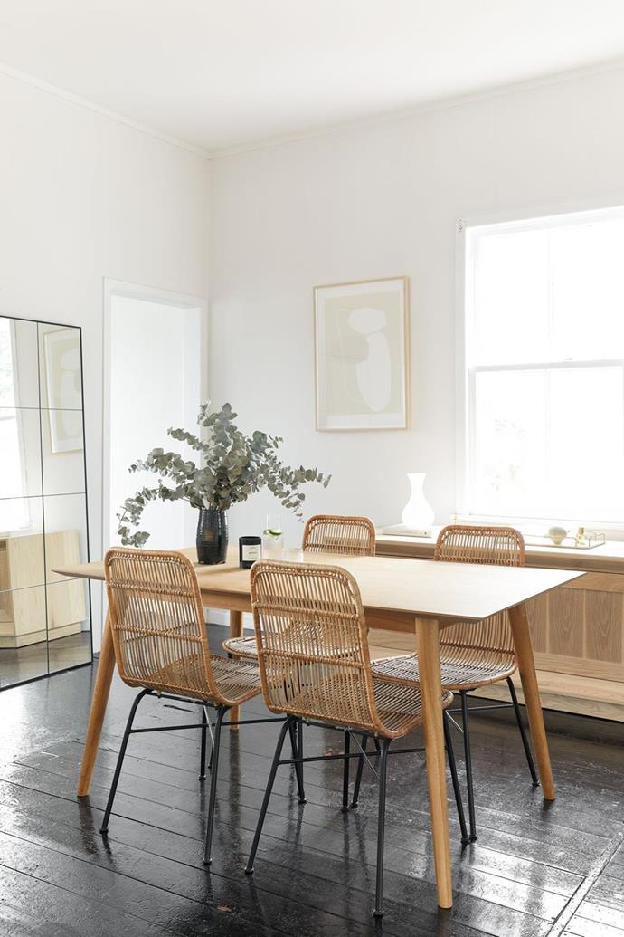 "A the blogger of An Organised Life and her boyfriend make their [monochrome home in New Zealand](https://www.homestolove.com.au/beck-wadworth-home-tour-21262|target=""_blank"") and dining room their own by sticking to a few fundamental rules that suited their aesthetic. ""I love fresh white walls, and wooden floors and I prefer to add texture and tones rather than lots of colours!"""