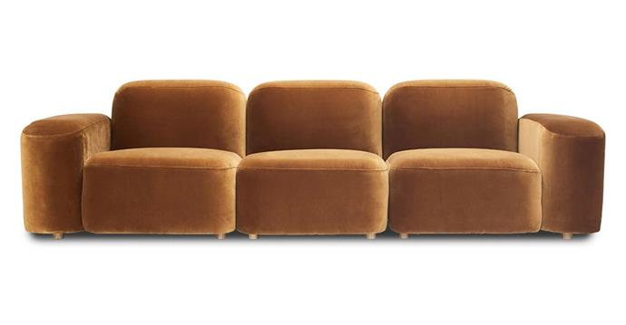 "Sarah Ellison 'Muse' modular sofa, from $1195 per piece, [Life Interiors](https://www.lifeinteriors.com.au/furniture/living-room/lounge-suites/sarah-ellison-muse-velvet-modular-module-2-caramel|target=""_blank""