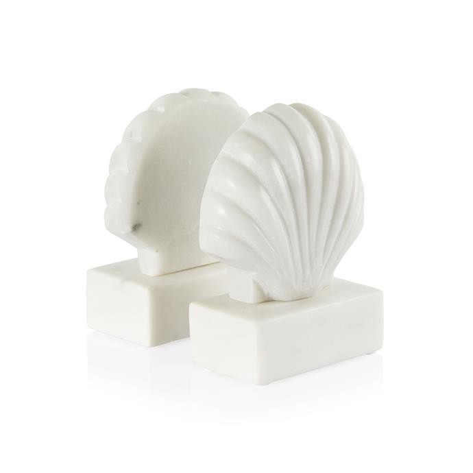 """Seychelles Marble Book Ends, $95, [Coco Republic](https://www.cocorepublic.com.au/seychelles-marble-book-ends-pair