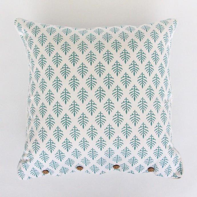"Mint leaf cushion, $85, [The Boathouse Home](https://www.theboathousehome.com.au/collections/all-products/products/mintleafcushion?variant=33325325746264|target=""_blank""