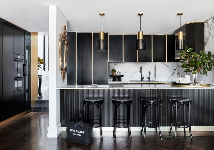Two-pack polyurethane joinery with brushed-brass trim. Walter pendant lights, Dunlin. Bentwood stools, Thonet. Giacomo mixer tap by Linsol. HydroTap, Zip.
