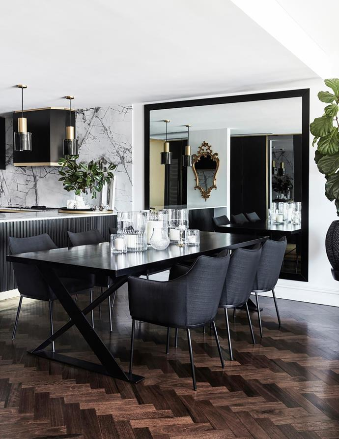 Custom-cut mirror. Dining table, Les Interieurs. Dining chairs, Coco Republic.