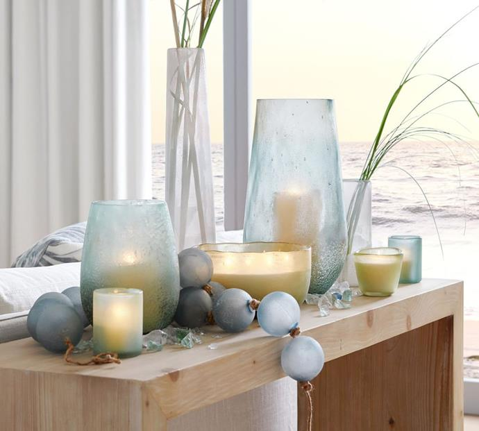 "Frosted Glass Hurricane - Sea Glass, $119, [Pottery Barn](https://www.potterybarn.com.au/frosted-glass-hurricane-candle-holder-sea-glass|target=""_blank""