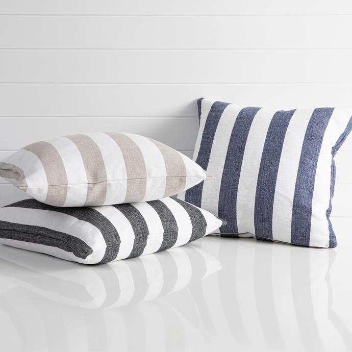 """Give your outdoor area a nautical feel with striped outdoor cushions in monochrome or beachy tones. <br><br>Habitat Riviera Wide Stripe Cushion, $34.95, [Pillowtalk](https://www.pillowtalk.com.au/pillowtalk/en/Categories/Living/Cushions/Habitat-Riviera-Wide-Stripe-Cushion/p/HABLRIVIE19W target=""""_blank"""" rel=""""nofollow"""")"""