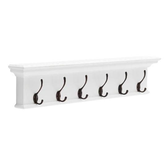 "6 Hook Wall Rack White, $399, [Hamptons Home](https://hamptonshome.com.au/collections/new-arrivals/products/6-hook-wall-rack-white|target=""_blank""