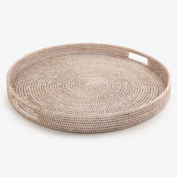 "Rattan Trays Round in White, $89, [Alfresco Emporium](https://alfrescoemporium.com.au/products/rattan-trays-round-white|target=""_blank""