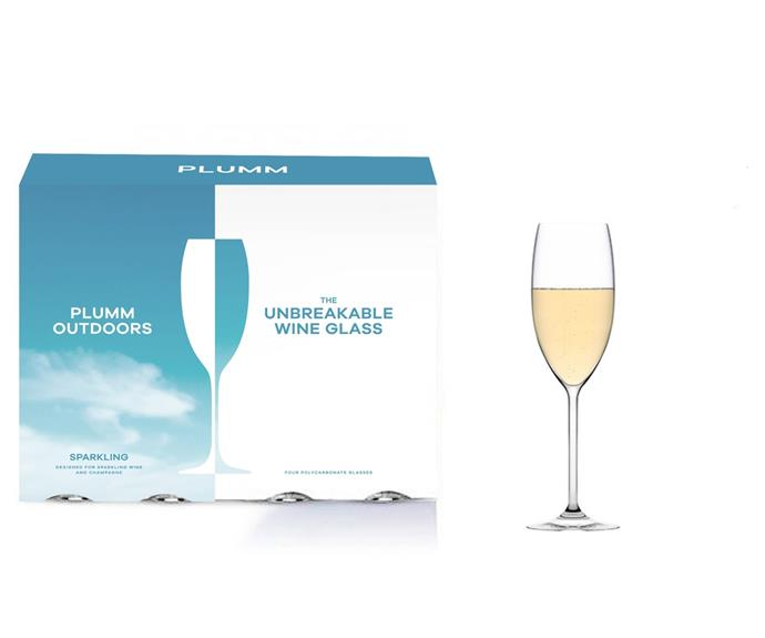 """There's no need to worry about breakages by the pool with these elegant outdoor wine and champagne glasses.  <br><br>Sparkling Unbreakable, $39.95 (set of 4), [Plumm](https://www.plumm.com/plumm/outdoors-polycarbonate-wine-glasses/Outdoors-SPARKLING target=""""_blank"""" rel=""""nofollow"""")"""