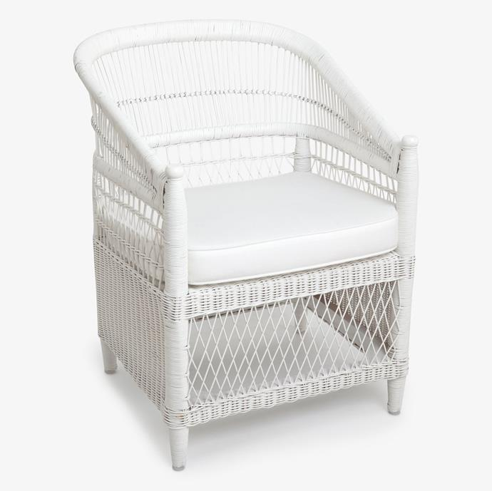 "Malawi Chair White, $549, [Alfresco Emporium](https://alfrescoemporium.com.au/products/malawi-chair-white|target=""_blank""