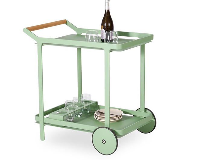 """Entertaining has never been so easy thanks to the revival of the drinks trolley. Load up the two-level serving station with drinks and nibbles for barbecues or keep the kids hydrated and full with minimum effort on pool days. <br><br> Imola Outdoor Teak Bar Cart in Matt Sage Green by Bent Design, $592, [Huset](https://www.huset.com.au/product/imola-outdoor-teak-bar-cart-drinks-sage-green target=""""_blank"""" rel=""""nofollow"""")"""