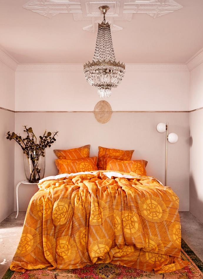 Artist Deborah Wurrkidj's Marebu design, depicting woven pandanus mats. It is available as a linen quilt cover and pillowcases.