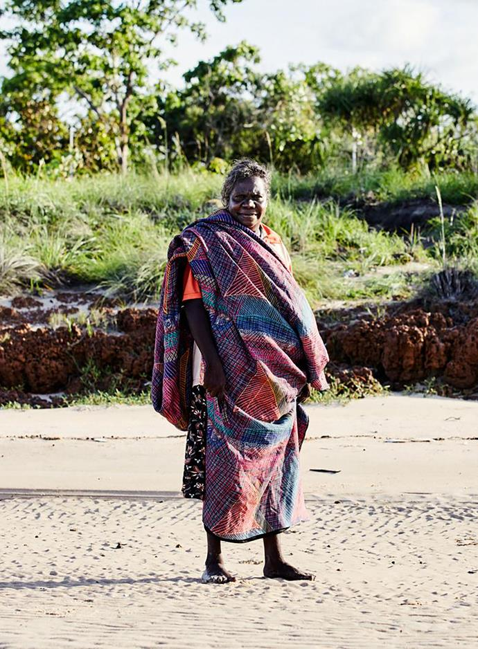 """The intricate linework in Raylene Bonson's 'Wubbunj' design tells """"the old history story of how people came to live in Maningrida""""."""