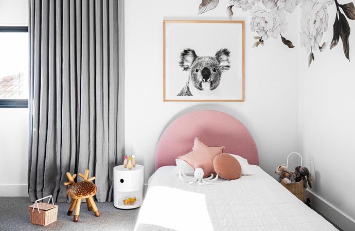 Below Dani bed, Mocka. Elements Optimal 'Bambi' stool, Top3 by Design. Kartell 'Componibili 2' storage unit, Space. Koala wall art, Lounge Lovers