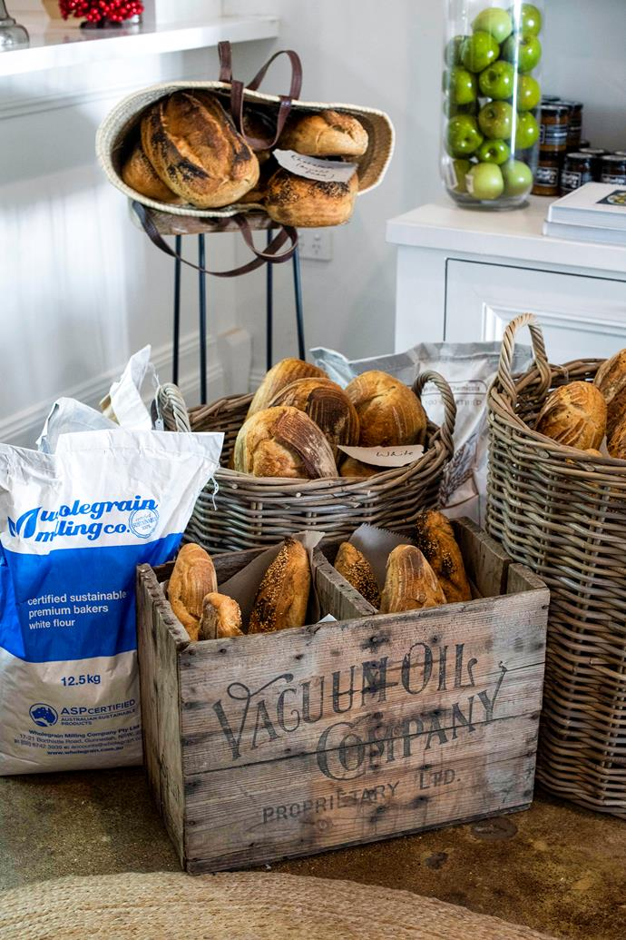 Yield cafe's rustic display of sourdough bread.