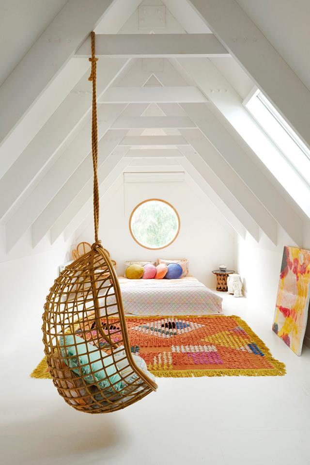 """The loft is used as a spare bedroom for family and friends in the home of [Kipp & Co. co-founder Hayley Pannekoecke](https://www.homestolove.com.au/kip-and-co-co-founder-hayley-pannekoeckes-colourful-home-6044